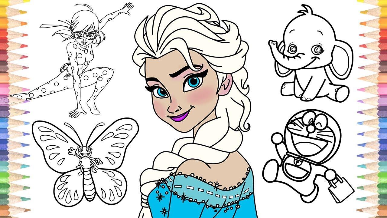 How to Draw Frozen Elsa Ladybug Butterfly Elephant Doraemon Coloring ...