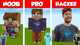 Minecraft NOOB vs PRO vs HACKER: MrBEAST STATUE HOUSE BUILD CHALLENGE in Minecraft / Animation
