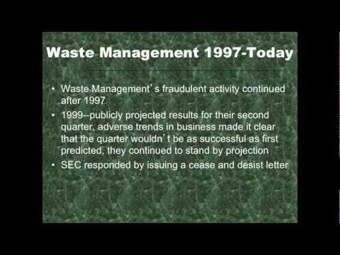 Waste Management Group #1 Part 1 Manipulating Accounting Estimates