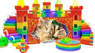 DIY - How To Make Amazing Castle For Kitten Cat From Magnetic Balls (Satisfying) - Magnet Balls.
