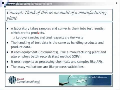 Auditing Analytical Laboratories For FDA Compliance.mp4