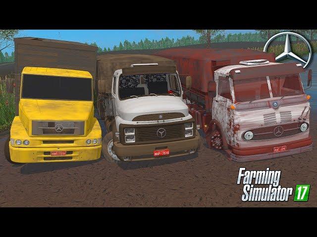 Caminhões da Mercedes Benz no Atoleiro - Farming Simulator 17