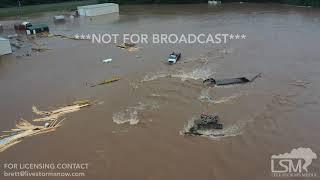 7-16-2019 Nashville, Ar Catastrophic flash flood  emergency, people stranded, cars sunk drone