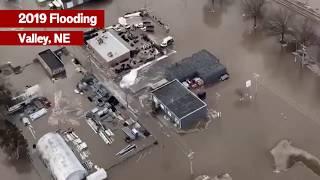 Aerial Footage - Flooding in Valley, Nebraska
