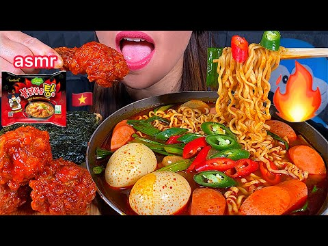 eating-soupy-fire-noodles-stew-type,-spicy-fried-chicken,-seaweed-asmr-먹방-real-sounds