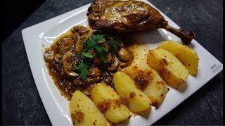 Бедра утки с гарниром из картошки и шампиньонов