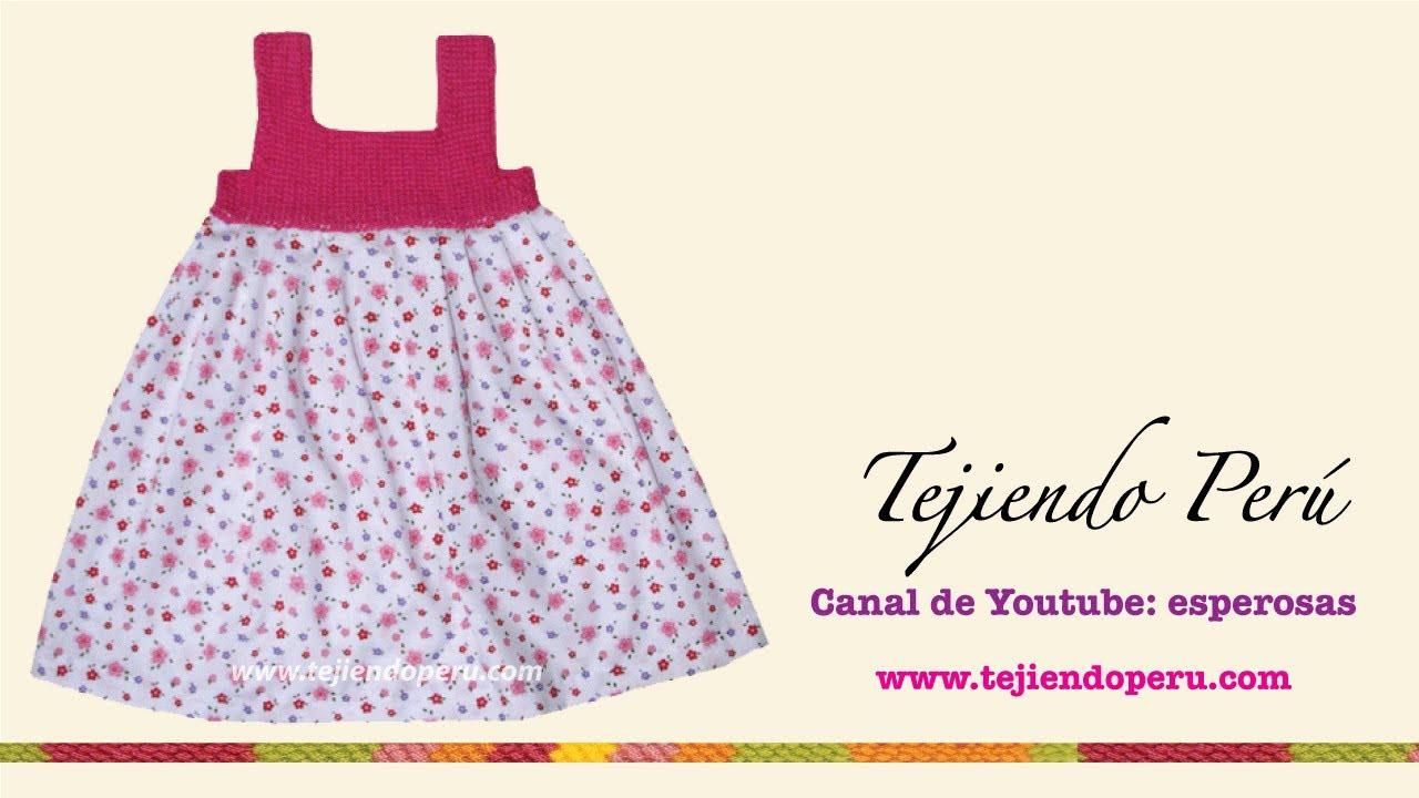 Vestido con pechera en ganchillo tunecino para niñas de 6 a 10 años