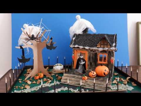 Popsicle stick craft/ DIY Miniature Halloween Haunted House /Easy Halloween Decorations/Clay/万圣节鬼屋