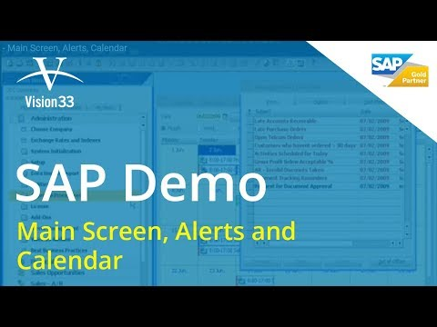 SAP Business One Demo - Main Screen, Alerts, Calendar