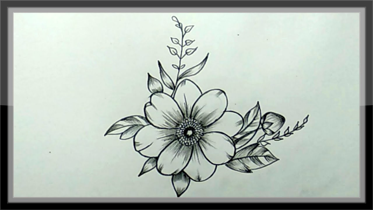 Pencil Drawing - How To Draw A Beautiful Flower easy - YouTube