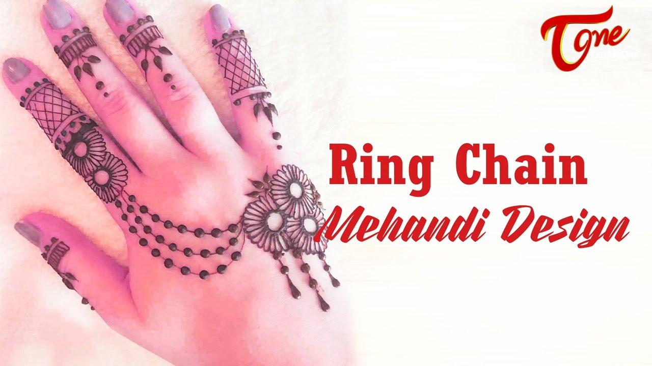 simple mehndi design chain style
