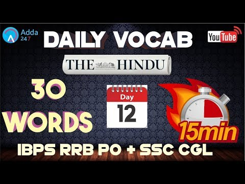 Vocabulary Words (D-12)   The Hindu   English for SSC CGL 2017