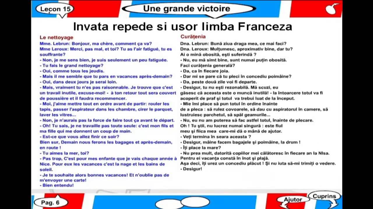 Invata repede si usor limba Franceza - Lectia 15