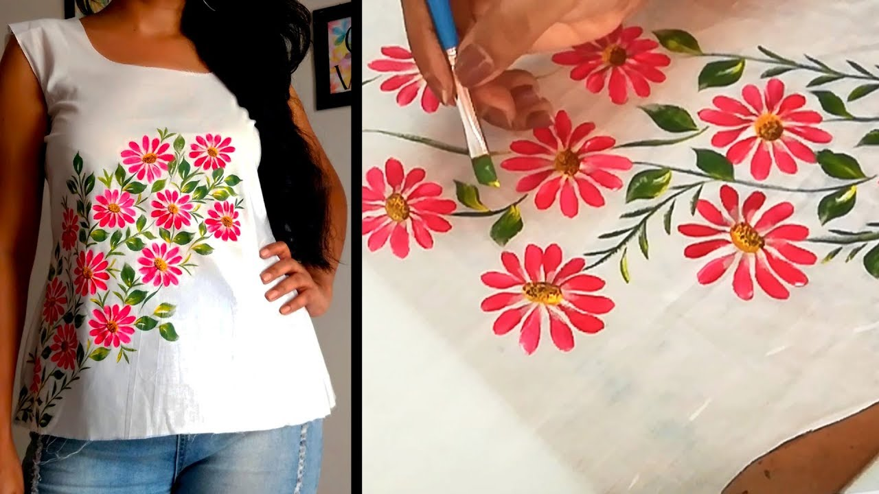 Flower Panting Design on Top | Kurtis /Free Hand Fabric Painting Design |  Simple & Easy Techniques