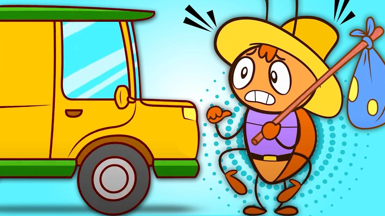 Canzoni per Bambini! Cucaracha, Macchine e 5 Autobus colorati! HooplaKidz Italiano