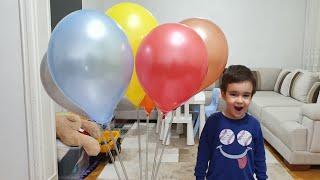 Buğra Işıklı Balonları Patlattı. Eğlenceli Çocuk Videosu