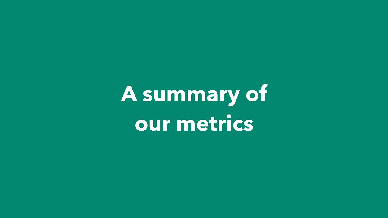 A Summary of Our Metrics