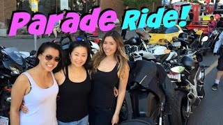 Motovlogging in a Parade! Girls Riding Motorcycles at Lilac Festival Calgary