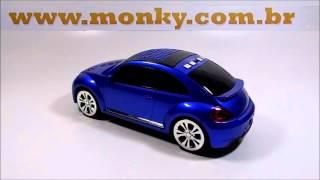 Mini Caixa de Som Carrinho MP3 Novo Fusca Azul - USB - Rádio - Cartão de Memória