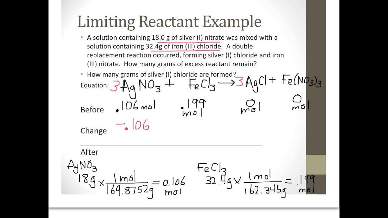 Chem Unit 8 Limiting Reactant With Bca