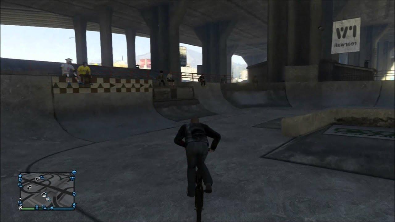 GTA V Skate Park Fun Using Bike  Location Grand Theft