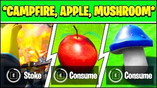 STOKE A CAMPFIRE, CONSUME FORAGED APPLE, CONSUME MUSHROOM LOCATION (Fortnite Week 8 Challenges)