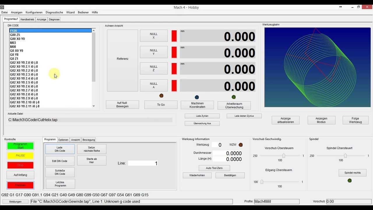 Mach4 Software Deutsche Oberfläche der Firma CNC-Steuerung