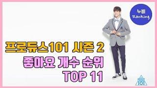 [순위] 프로듀스101 시즌2, 좋아요를 가장 많이 받은 연습생 순위 TOP11 | produce101 s2…