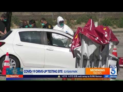 Long Lines Outside Dodger Stadium For Coronavirus Testing