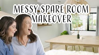 Messy Spare Room to Minimal Home Office Makeover