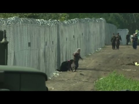 Refugees break through newly-built border fence in Hungary