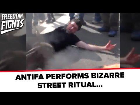 ANTIFA PERFORMS BIZARRE STREET RITUAL...