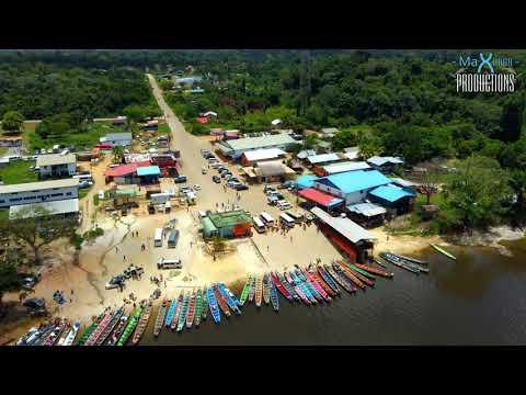 Atjoni, the gateway to the interior of Suriname (Drone view)