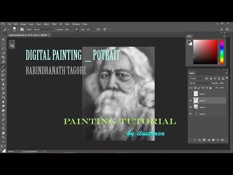 Painting Tutorial- Digital painting_Potrait of Rabindranath Tagore_Time lapse