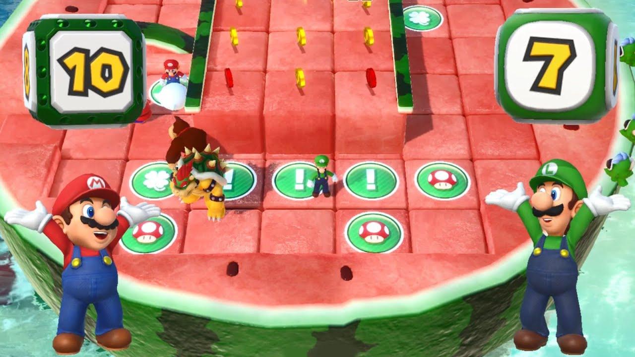 Super Mario Party - Mario and Luigi vs Peach and Daisy - Watermelon Walkabout