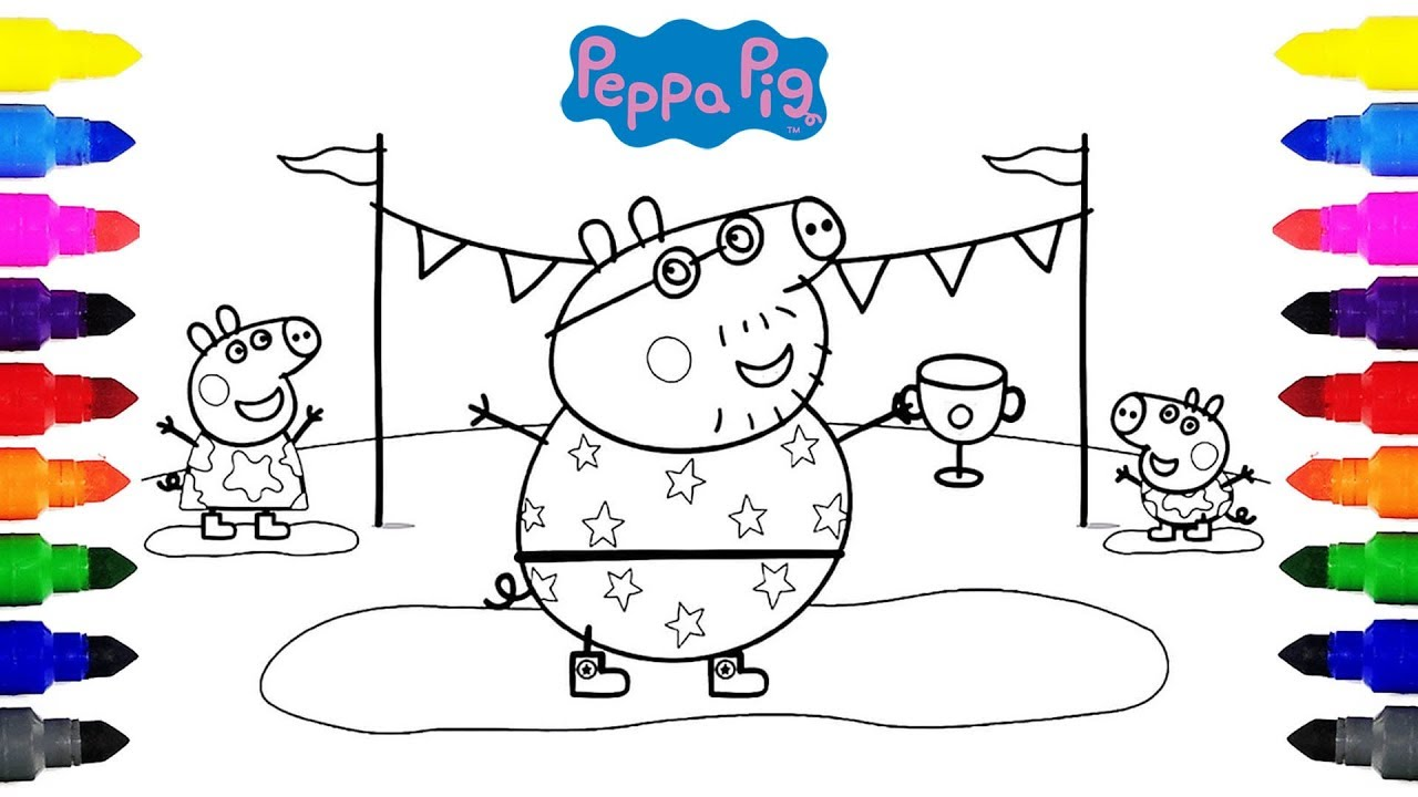 Peppa Pig Champion Daddy Pig Coloring Pages For Kids Youtube