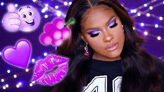 GRWM Vivid Purple Cut Crease - Celie Hair (Brazilian Straight Hair)