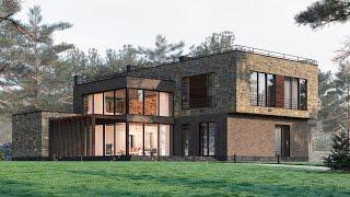 Проект дома в стиле Лофт из кирпича и камня. Дом с террасой, СПА и гаражом. Ремстройсервис М-365
