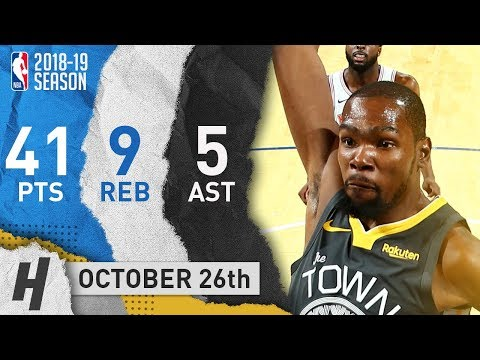 Kevin Durant Full Highlights Warriors vs Knicks 2018.10.26 - 41 Pts, 5 Ast, 9 Reb!