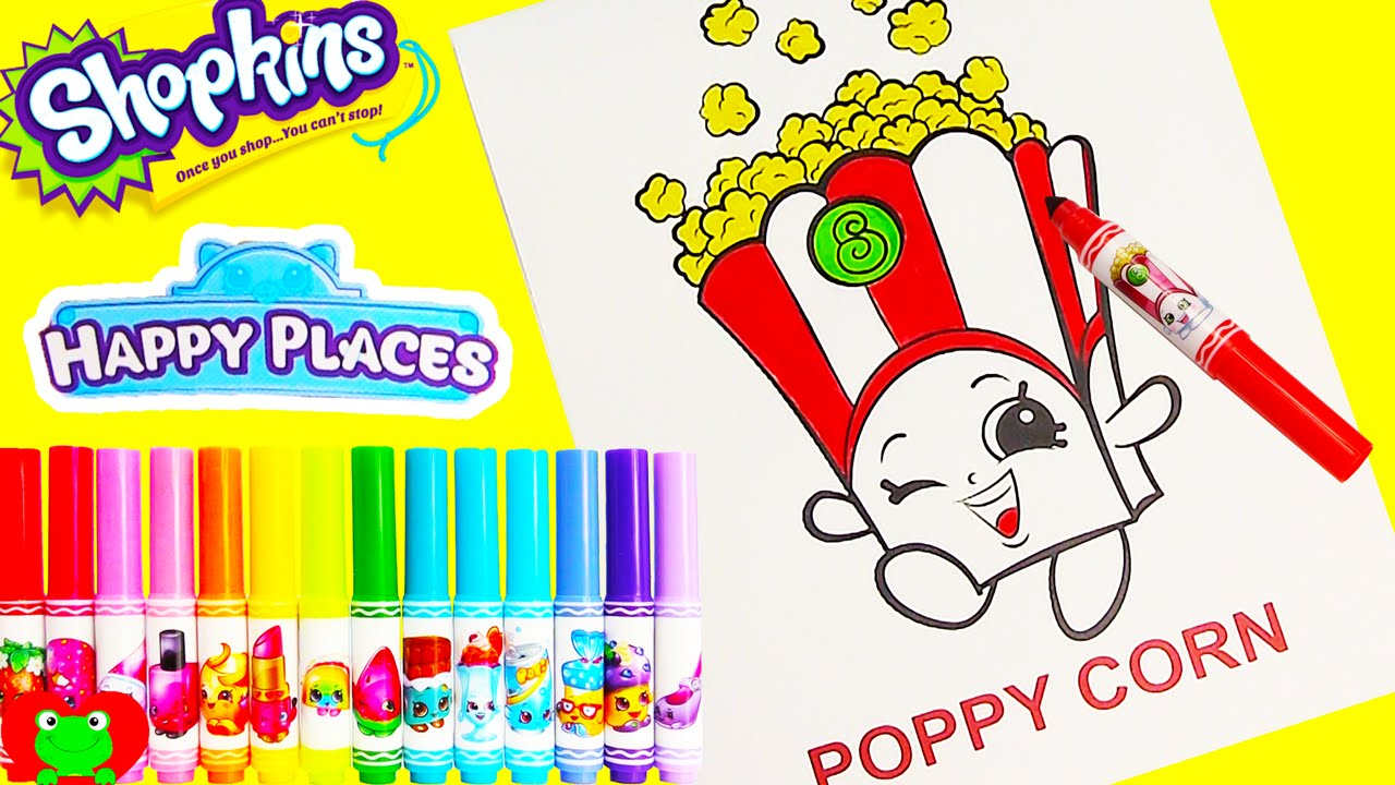 shopkins poppy corn crayola coloring page with happy places lip