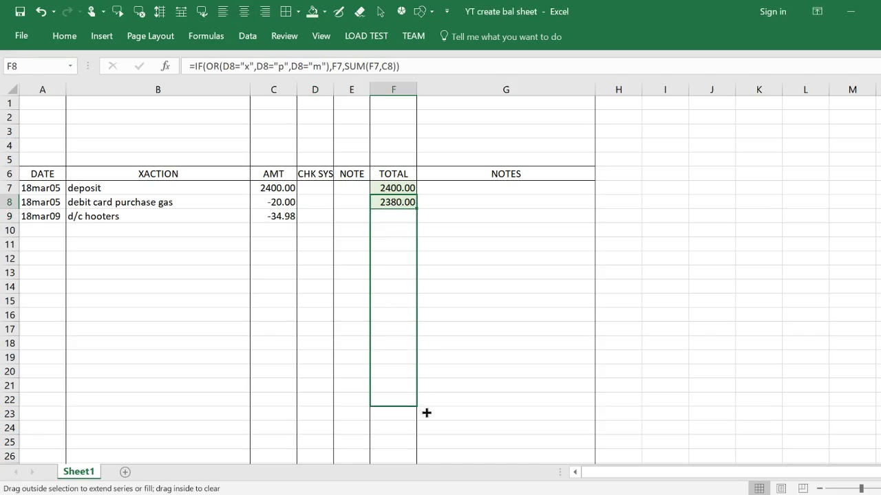 a simple bank account balance sheet using excel
