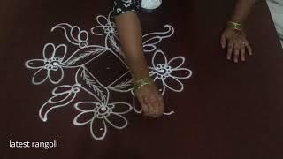 simple rangoli design with 7x1 straight dots || simple flower rangoli design
