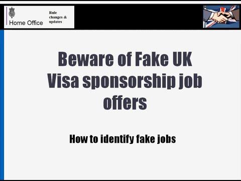Beware of Fake/Scam UK visa sponsorship jobs