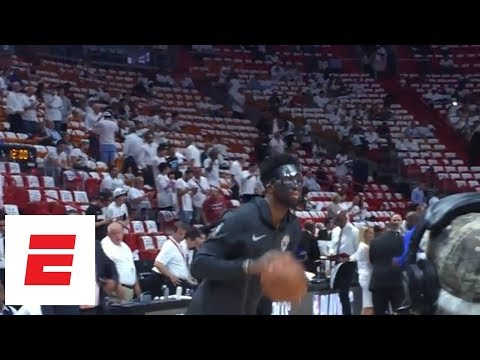 Joel Embiid warms up with mask on before Game 3 of Philadelphia 76ers-Miami Heat   ESPN