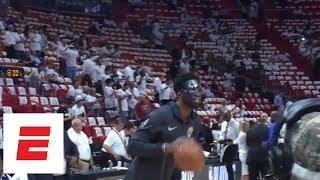 Joel Embiid warms up with mask on before Game 3 of Philadelphia 76ers-Miami Heat | ESPN