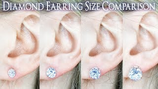 Earring Diamond Size Comparison. 1 Carat on the Ear vs .25 to 4 Ct. .33 .4 .5 .66 .75 .8 .9 1/2