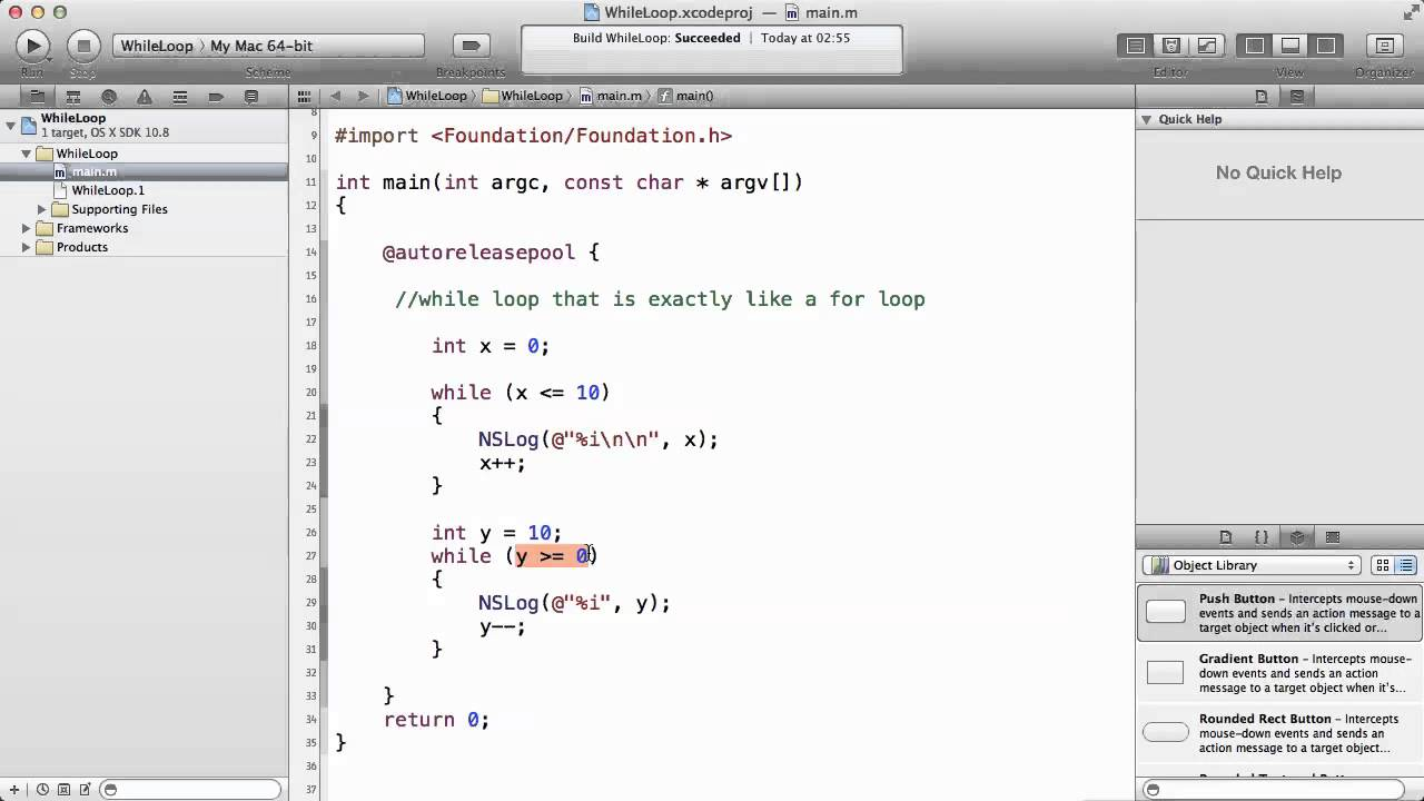 Objective c tutorials 39 while loop example youtube objective c tutorials 39 while loop example baditri Image collections