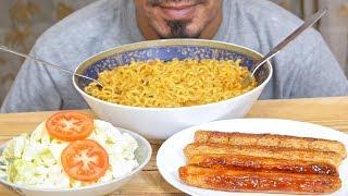Eating ASMR - SHIN RAMYUN NOODLES, SAUSAGE, SALAD - Mukbang no talking eating show - Eating sound