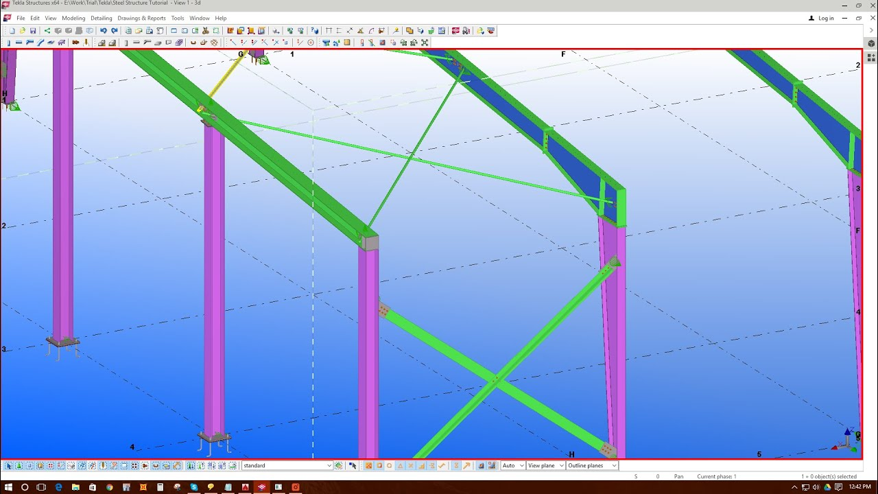 4 Adding Roof Cable Bracing Amp Wall Wt Bracing In Tekla