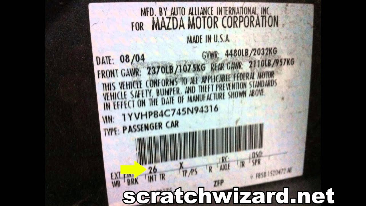 How To Find Your Mazda S Paint Code Youtube